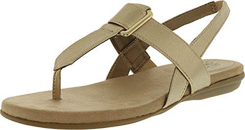 LifeStride Women's Brooke Flat Sandal, Soft Gold, 8 M US (Leather Gold Footwear Soft)