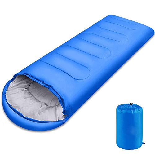 Lightweight Sleeping Bag, 3 Season Sleep Bags for Kids Adults Girls Women, Cotton Hollow Filled Warm Cool Cold Weather 5-20 Degree for Backpacking/Hiking/Naturehike/Camping with Compression Sack -Blue