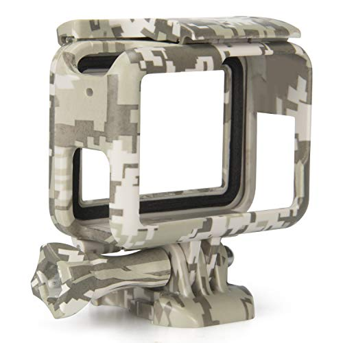 Kupton Frame Compatible with GoPro Hero 7 Black/ 6/5/ Hero (2018) Housing Protective Shell Case Accessories for Go Pro Hero7 Hero6 Hero5 Black with Quick Pull Movable Socket +Screw (Camouflage Gray)