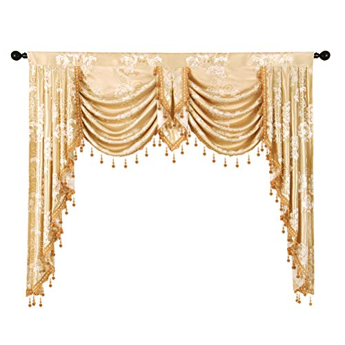 elkca Golden Jacquard Swag Waterfall Valance Luxury Curtain Valance for Living Room (Floral-Golden, W59 Inch, 1 Panel) ()