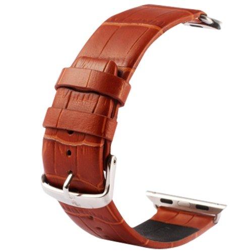 alsatek Pulsera de Piel sintética para Apple Watch 42mm diseño Efecto cocodrilo Conector fourni marrón