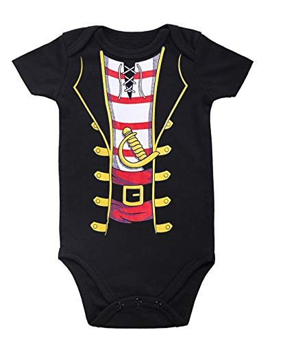 - Uideazone Baby Boys Pirate Costume Cute Short Sleeve Romper Funny Pattern Bodysuit