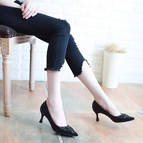 KPHY Damenschuhe Herbst-Mode 6 cm Hochhackigen Schuhe Schuh Spitz und Dünn Flache Schuhe Einfache Damenschuhe Einzelnen Schuh Schuhe Pendeln.35 Schwarz a8185f