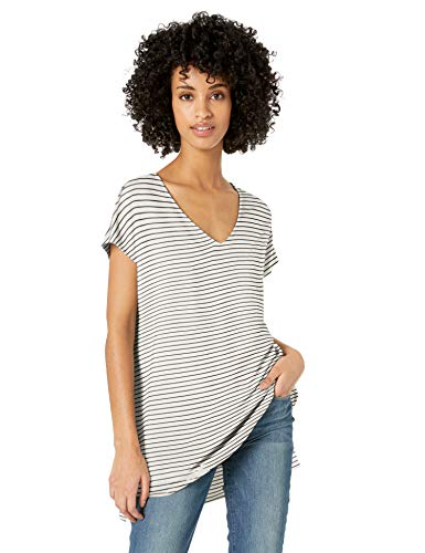 - Amazon Brand - Daily Ritual Women's Supersoft Terry Dolman-Sleeve V-Neck Tunic, White/Black Stripe, XX-Large
