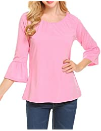 Women's Casual Scoop Neck Pleated Front Blouse 3/4 Bell Sleeve Top Tunic Shirt