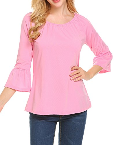 Bell Sleeves Tunic (Beyove Women's Casual Scoop Neck Pleated Front Blouse 3/4 Bell Sleeve Top Tunic Shirt (XX-Large, Pink))