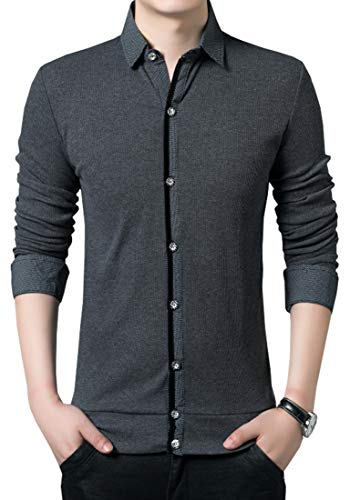 Nature Lovers Mens Long Sleeve Button Down Shirts Casual Polos 6241 Gray Asian 2XL/US M