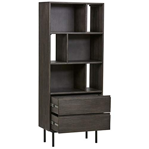 Rivet Stevens Modern Bookcase, 27.56''W, Acacia, Brushed Tundra Gray by Rivet (Image #6)