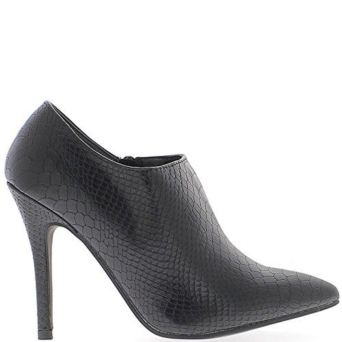 Stivali bassi nero tacco a punta fine 10,5 cm aspetto croco