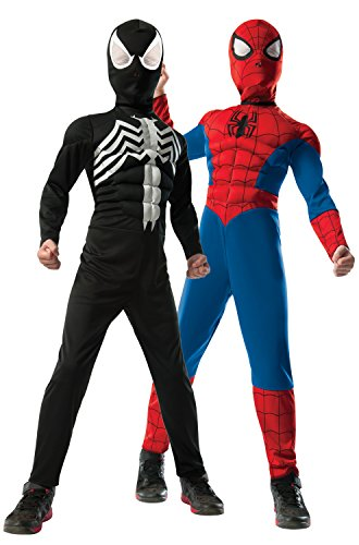 Rubie's Marvel Ultimate Spider-Man 2-in-1 Reversible Spider-Man / Venom Muscle Chest Costume, Child Medium - Medium One Color