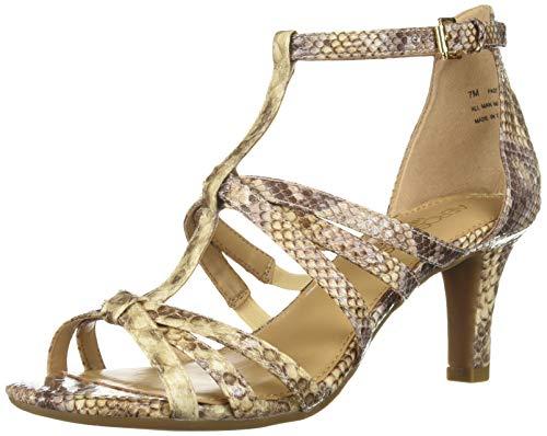 Aerosoles Women's PASSIONFRUIT Heeled Sandal, Light Tan Snake, 6.5 M US