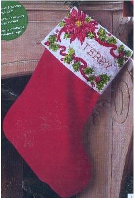 "Bucilla Poinsettia & Berries 18"" Stocking Counted Cross Stit"