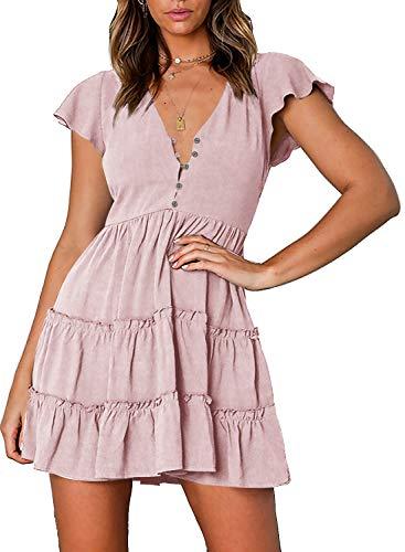 (ZESICA Women's Summer Bohemian Floral Printed Short Sleeve V Neck Button Ruffle Swing Beach Mini)