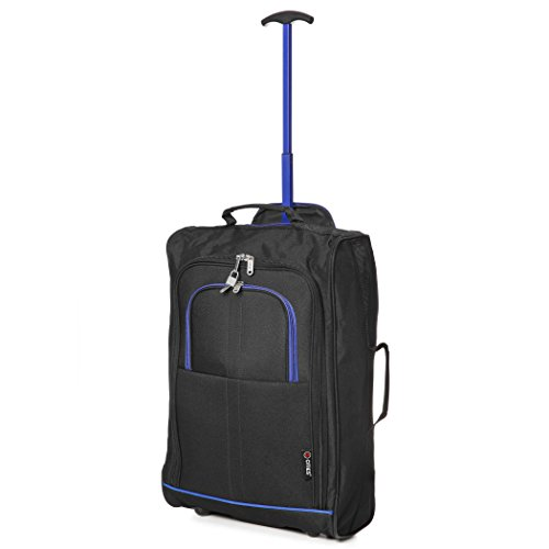 "21""/55cm 5 Cities Black Carry On Lightweight Cabin Approved Trolley Bag Hand Luggage (Black/Blue)"