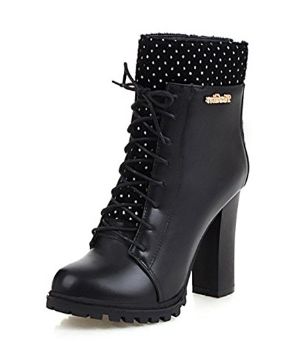 Aisun Womens Trendy Round Toe Back Zipper Chunky High Heels Lace Up Ankle Boots Shoes Black 8oDag1DUB