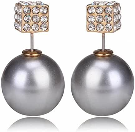 Fashion Womens Lady Earring Double Side Pearl Square Crystal Ear Studs Earrings