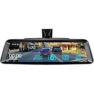 Discount 10' Dash Cam Car DVR Stream Media Dual Lens Mirror Full Touch Screen HDR Reversing Backup Camera kit Front and Rearview Camera Sony Sensor1080P HDR Night Vision Rear Rear View Mirror Video Recorde