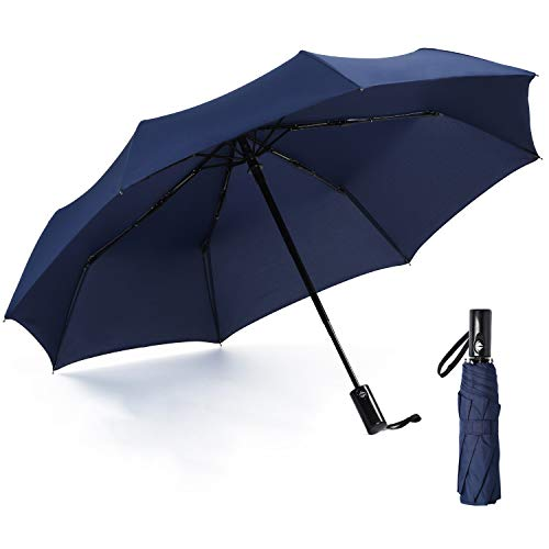 Compact Travel Umbrella Windproof Auto Open Close Folding Umbrella - Portable Lightweight Umbrella for Women and Men, Easy Touch (Navy Blue)