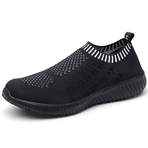 LANCROP Women's Comfortable Walking Shoes - Lightweight Mesh Slip On Athletic Sneakers 5 M US All Black]()