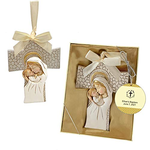 FASHIONCRAFT, Baptism Party Favors, Madonna and Child Confirmation Hanging Cross Ornament, Cross Flowers Design Personalized Tags, Set of 40