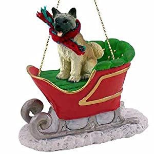 Conversation Concepts Akita Sleigh Ride Christmas Ornament Fawn - DELIGHTFUL! 10
