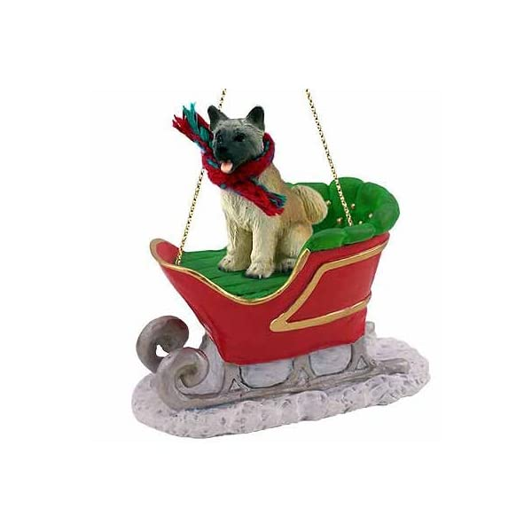 Conversation Concepts Akita Sleigh Ride Christmas Ornament Fawn - DELIGHTFUL! 1