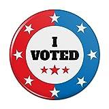 I Voted Red White Blue Patriotic Pinback Button Pin Badge - 3' Diameter