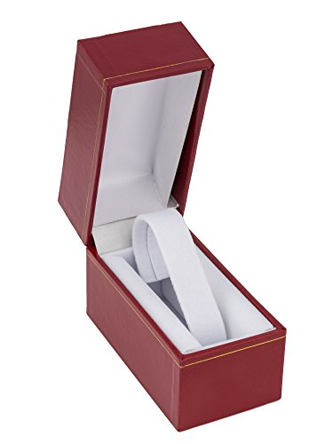 """3x4"""" Red Leatherette Cartier Style Jewelry Gift Box with Gold Trim for Bangles, Watches or Bracelets"""