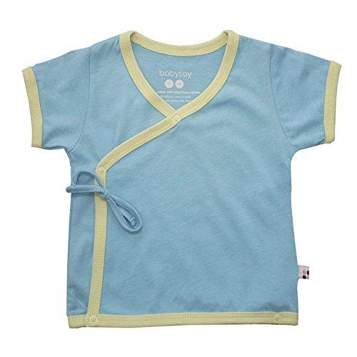 Babysoy Baby Short Sleeve Kimono Tee (3-6 Months, Sky)