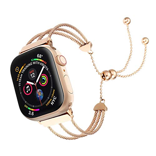 IMYMAX Adjustable Bling Band Replacement for Apple Watch Band 38mm 40mm 42mm 44mm Women iWatch Series 4/3/2/1 Fashion Tassel Wristband Strap, (Rose Gold, 38mm/40mm) ()