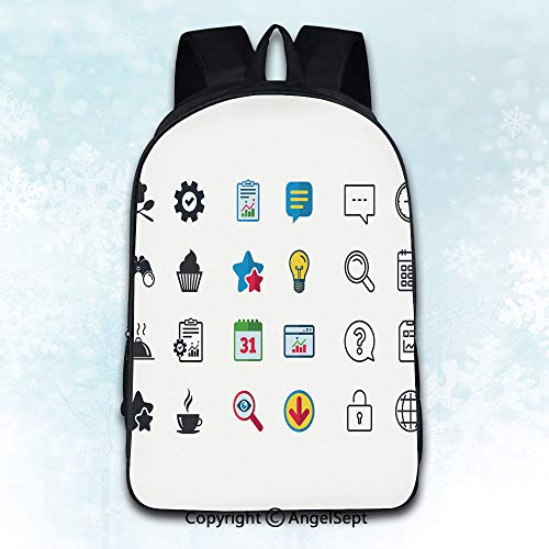 Elegant Rucksack with Two Carrying Ways,Food icons Muffin cupcake symbol Fork spoon 2 Theme Artwork Print Decorations Illustration Multicolor 16 inches,Anti-Theft Knapsack