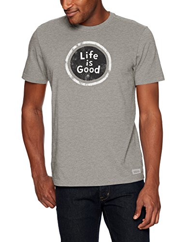 Life is Good Mens crusher tee Coin, Heather Gray, Large (Mens Heather Gray Life)