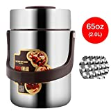 Vacuum Bento Lunch Box Food Carrier 304 Stainless Steel Insulated Thermos Food Container Storage Carrier, Leakproof BPA-Free 3 Tier Thermal Insulating Lunch Box, Keep Warm 6 hours (65oz, Silver)