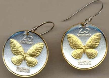 - Philippines 25 Sentimos ÒButterflyÒ Two Tone Coin Earrings