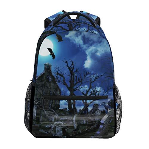 AHOMY Girls School Backpack 3D Halloween Naked Tree Graves College Book Bag Lady Travel Rucksack -