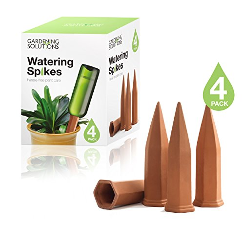 Drip Water (Terracotta Watering Spikes by Gardening Solutions - Water Plants with Automatic Bottle Irrigation System - Set of 4 Stakes)