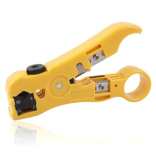 BlueCosto Wire Stripper Cutter for Round / Flat UTP Cat5 Cat6 Coax Coaxial Cable Stripping Universal Tool