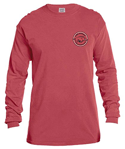 NCAA Arkansas Razorbacks Rounds Long Sleeve Comfort Color Tee, Large,Crimson