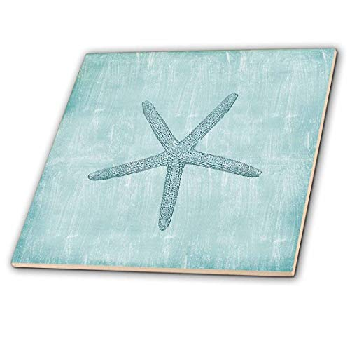 3dRose ct_178911_3 Aqua Starfish Abstract Beach Theme-Ceramic Tile, 8-Inch