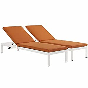 Modway Shore Set of 2 Outdoor Patio Aluminum Chaise with Cushions in White Orange