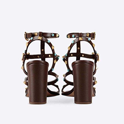 SHEO sandalias de tacón alto Ronda femenina de rocío abierto con tacones altos con sandalias de remaches Bronce