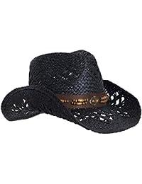 b26779c20 Straw Cowboy Hat W/Vegan Leather Band & Beads, Shapeable Brim, Beach Cowgirl
