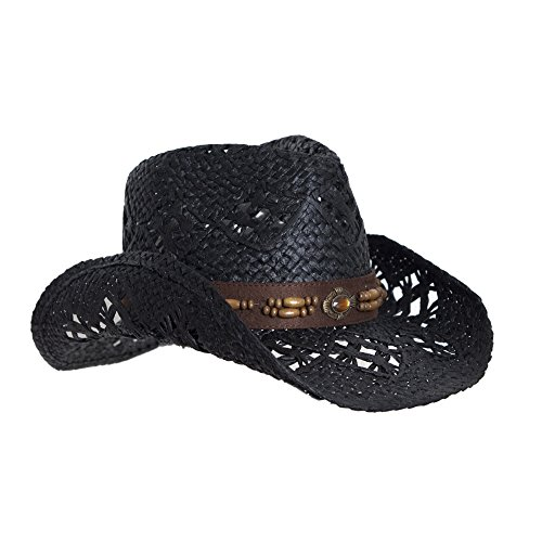 Black Straw Cowboy Hat for Women, Faux Leather Trim, Shapeable Brim (Hat Straw Suede)