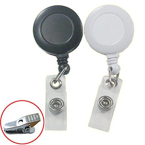 Bluemoona 100 Pcs - 32mm Reels Retractable Badge Holder Alligator Clip ID YOYO Key Belt Clip Card Name Tag (Black)