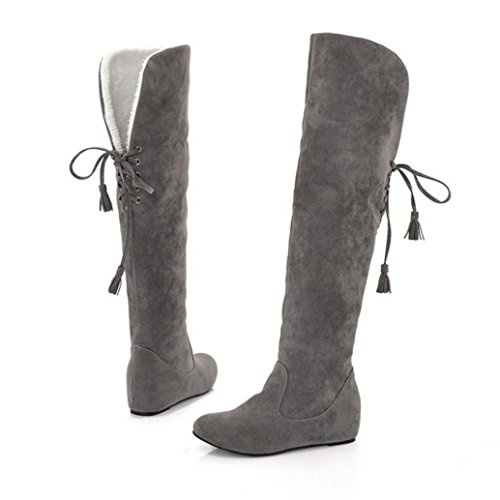 Gray Boots Boots Women's Autumn up Plush Winter Warm High erthome Thigh Lace Comfortable C4FqwUUTx