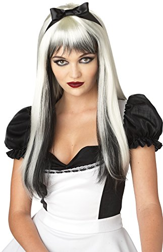 [UHC Adults Enchanted Tresses Dark Wicked Alice Black & White Women Costume Wig] (Dark Alice Halloween Costumes)
