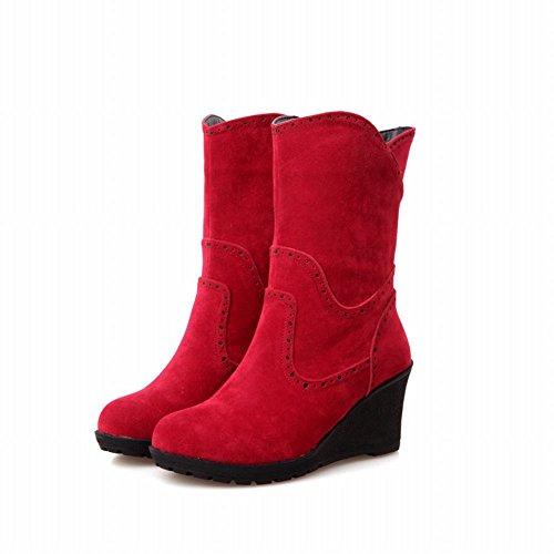 Latasa Femmes Vintage Nubuck Milieu Wedge Talon Plateforme Mi-mollet Slouchy Bottes Rouge