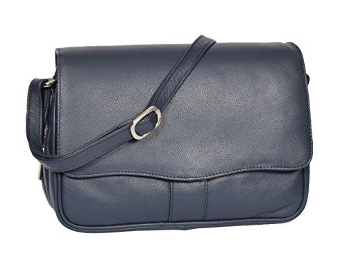 Ladies Classic Italian Design Organiser Shoulder Womens Leather Cross Body Bag MATILDA Blue