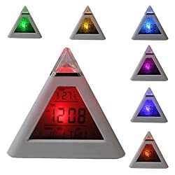 Jesica Colorful LED Color Changing Triangle Digital Alarm Clock
