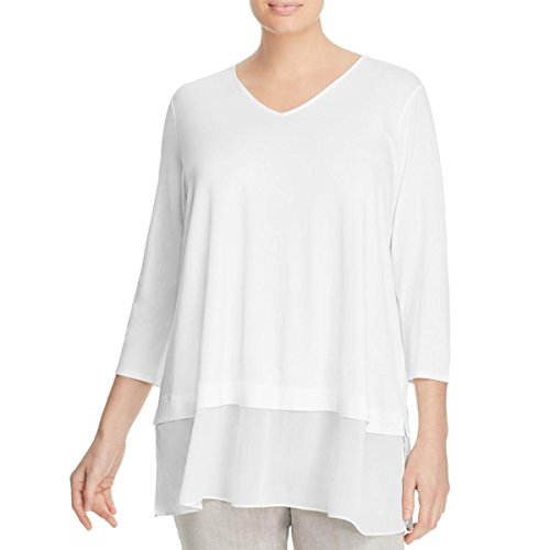 Eileen Fisher Womens Plus Silk Jersey Casual Top White 1X